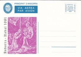 ANDORRA VEGUERIA EPISCOPAL AEROGRAMA - AÑO 1981 - NAVIDAD - CHRISTMAS - Vegueria Episcopal