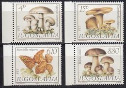 JUGOSLAWIEN 1983  ** Speisepilze Fungi, Mushrooms - MiNr.1977-1980 Kompletter Satz - Pilze