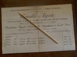 OUDE            FAKT.  STOOMBIERBROUWERIJ    ( TEN  TOREN )   1895  GENT  Camille ALGOET   GENT - Factures
