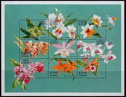 Zm9930a ZAMBIA 1999, Orchids M-sheet 1,  MNH (flowers On Blue Background) - Zambia (1965-...)