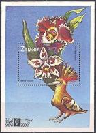 Zm9984b ZAMBIA 2000, 1 @ K6000  Stamp Show, Orchids  MNH  (Butterfly) - Zambia (1965-...)