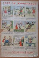 """Feuillet Publicitaire BD """"Toto Le Resquilleur"""" Offerte Par Les Combinés BARRAL - Vers 1930 - Etat Moyen - Advertising"""
