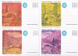 ANDORRA - VEGUERIA EPISCOPAL LOTE DE 6 TARJETA / ENTERO POSTAL PUENTES ROMANICOS  AÑO 1982 - Briefmarken