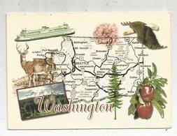 Carte Géographique , ETATS UNIS , WASHINGTON , The Evergreen State , Voyagée - Cartes Géographiques