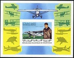 Mauritania 1977 Charles A. Lindbergh, Spirit Of St Louis, Non Dentele, Neuf** Sans Charniere, Scott 372 Imperf - Mauretanien (1960-...)