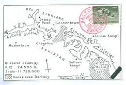 1960, Pakistan, Saltoro Expedition. Printed Pc, Used, Poster Stamp & Cachet To Front. - Pakistan