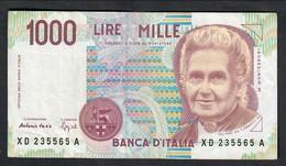 1000 LIRE MONTESSORI SERIE SOSTITUTIVA XD.......A 1994 R2 BB  LOTTO 225 - [ 2] 1946-… : République