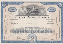 USA - Collins Radio Company - 100 Shares - Certificate Of Stock - Serial Number - Used - Stamp - Iowa 305/205 Mm - United States