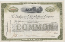 USA - The Baltimore Ohio Railroad Comapany - Common Stock - Serial Number - Used - Stamp - 100 Dollars Each 289/188 Mm - United States