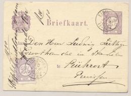 Nederland - 1880 - 2,5 Cent Cijfer Op 2,5 Cent Briefkaart Van KR EINDHOVEN Naar Stuttgard / Pruissen - Periode 1852-1890 (Willem III)