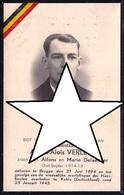 DOODSBEELDJE * ALFONS VERLEYE ( BRUGGE ) - GEMARTELD EN GEDOOD TE KAHLA ( Duitsland ) 1945 - Images Religieuses