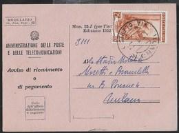 STORIA POSTALE REPUBBLICA - RICEVUTA RITORNO MOD. 23-I DA MILANO/VIA CLERICI 10.06.1953 - 6. 1946-.. Repubblica