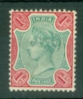 India: 1892/97   QV     SG106    1R    Green & Aniline Carmine     MH - India (...-1947)