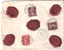 Lettre Chargée De PARIS Pour LOURDES (HTES PYRENEES) Valeur Déclarée 600 Francs - 1921-1960: Période Moderne