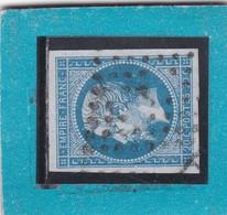 """N°14 A  OBLIT. DE PARIS  BUREAU DE QUARTIER """" J   """"  PLACE DE LA BOURSE / PETIT LOGEMENT+ VARIETE - REF ACDIV - 1853-1860 Napoléon III"""