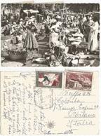 Tchad Ciad Market Scene In Black Africa - PPC Abeche 25mar1961 - Tchad Issue F25 + AEF F5 X Italy - Tchad (1960-...)