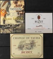 3 ETIQUETTES Différentes De VIN - BUZET - En Parfait Etat - Collections & Sets