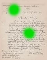 ENGIS ARTHUR DISCRY LECLERCQ 1919 - Factures & Documents Commerciaux