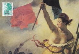 Carte Maximum ST PIERRE Et MIQUELON N° Yvert 457  (DELACROIX - LIBERTE) Obl Sp Ill 1er Jour (Ed Pierron) - Cartes-maximum