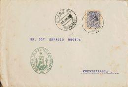 Navarra. Historia Postal SOBRE. 270. 1913. 15 Cts Violeta (tonalizado). OYARZUN (GUIPUZCOA) A FUENTERRABIA. En El Frente - Spain