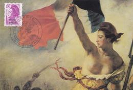Carte Maximum ST PIERRE Et MIQUELON N° Yvert 460  (DELACROIX - LIBERTE) Obl Sp Ill 1er Jour (Ed Pierron) - Cartes-maximum