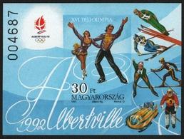 Ungarn 1991 - Mi-Nr. Block 219 B ** - MNH - Olympia Albertville - Hongrie