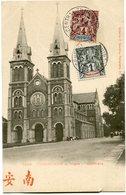 INDOCHINE CARTE POSTALE DE COCHINCHINE -SAIGON -LA CATHEDRALE AVEC OBLITERATION SAIGON-CENTRAL 15 DEC 05 COCHINCHINE - Cartes Postales