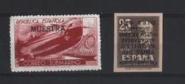 SPANJE 1938 Correo Submarino + Stamp 1947 Met Kopstaande Opdruk Ongetand  Zegels Met Gom - 1931-50 Nuovi