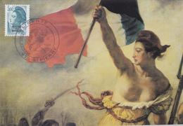 Carte Maximum ST PIERRE Et MIQUELON N° Yvert 468  (DELACROIX - LIBERTE) Obl Sp Ill 1er Jour (Ed Pierron) - Cartes-maximum