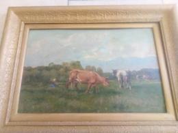 """Quinton """" L Gardienne De Vaches Dans La Pré"""" Barbizon 19 E - Oils"""