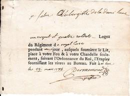 1785 - LE LUC (83) Régiment De ROYAL CORSE - Billet De Logement Pour 1 Sergent Et 4 Soldats - Documents Historiques