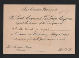 GREAT BRITAIN LORD MAYOR LONDON EASTER BANQUET 1935 NEPAL MANSION HOUSE - Historical Documents