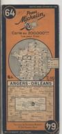 Carte Routière MICHELIN - N° 64: Angers - Orlèans. 1940 - Roadmaps