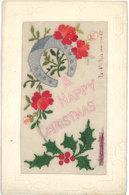 CPA Fantaisie - Brodée, A Happy Christmas, Fer à Cheval - Bordados