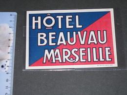 ETIQUETTE HOTEL BEAUVAN MARSEILLE - Hotel Labels