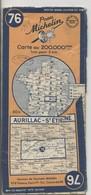 Carte Routière MICHELIN - N° 76 - Aurillac - St Etienne - 1949 - Roadmaps