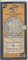 Carte Routière MICHELIN - N° 82 - Pau - Toulouse - 1951 - Roadmaps