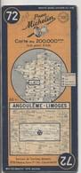 Carte Routière MICHELIN - N° 72 - Angoulème - Limoges - 1948 - Roadmaps
