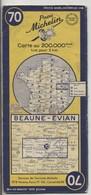 Carte Routière MICHELIN - N° 70 - Beaune - Evian - 1953 - Roadmaps
