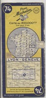 Carte Routière MICHELIN - N° 74 - Lyon - Genève - 1953 - Roadmaps