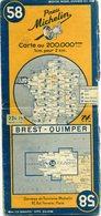 Carte Routière MICHELIN - N° 58 - Brest - Quimper - 1946 - Roadmaps
