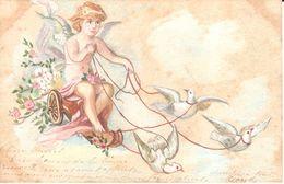 Thèmes - Ange - Angelot - Sur Un Char Tiré Par Des Colombes - Angels