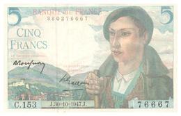 Billet > France > 5 Francs  1947    Neuf - 5 F 1943-1947 ''Berger''