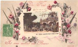 De Hué Eléphants S'agenouillant Devant Le Palais Du Comat Je Vous Envoie Ces Fleurs - Viêt-Nam