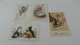 Lot  De 4 Cartes   Postales  Sur Les Chats - Katten