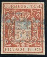 Ambulante. Filatelia º24. 1854. 6 Cuartos Carmín. Matasello Del Ferrocarril VISA Y CASANOVAS, En Azul. MAGNIFICO Y  - España