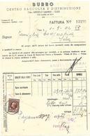 FAT089 - FATTURA 1944 -BURRO - CENTRO RACCOLTA E DISTRIBUZIONE - DITTA ANGELO DAPRAI - CLES (TRENTINO) - MARCHE DA BOLLO - Italia