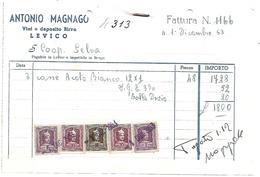 FAT096 - FATTURA 1953 - ANTONIO MAGNAGO - LEVICO (TRENTINO) - MARCHE DA BOLLO - Italia