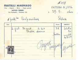 FAT097 - FATTURA 1960 - FRATELLI MAGNAGO - LEVICO (TRENTINO) - MARCHE DA BOLLO - Italien