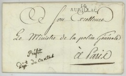 Marque Préfet Du Cantal / LàC 1810 D'Aurillac Au Ministre De La Police Générale à Paris . Signé Riou De Kersalaün . - Marcophilie (Lettres)